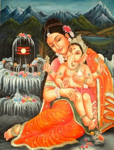 Baby Ganesha & Mother Parvati